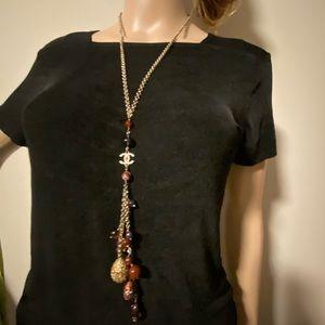Chanel CC logo multi stone vintage long necklace